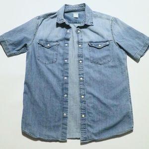 H&M Short-sleeved Denim Shirt SMALL Light Blue